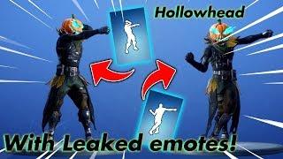 [Fortnite] NEW Hollowhead skin + leaked emotes!