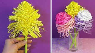 как сделать из бумаги легкий цветок без клея