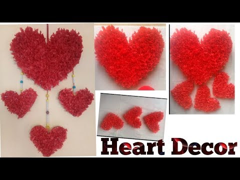 Decor idea //best out of waste idea 2018 //crape paper heart wall hanging //Handmade