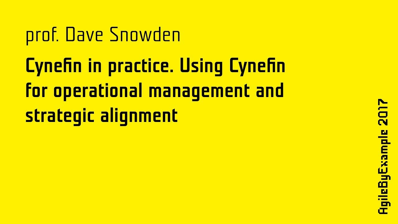 AgileByExample 2017: prof. Dave Snowden - Cynefin in practice - YouTube