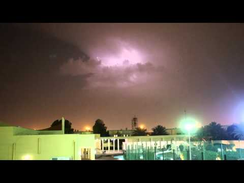 Electric Storm over Beverly Hills 1 Compound in Doha, Qatar.  14th April 2016.
