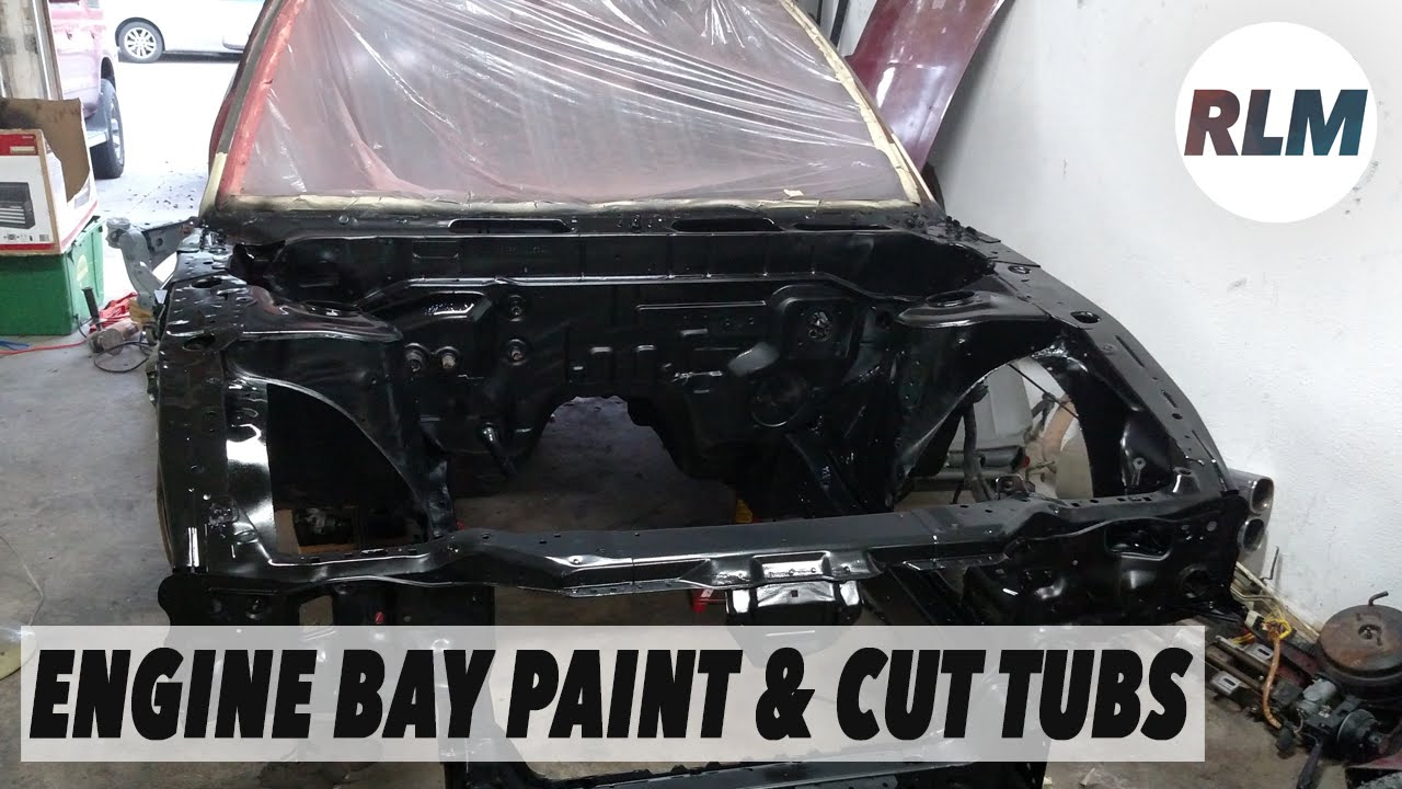 Remove Spray Paint From Car >> 1. Engine Bay Paint & Cut Tubs - RB25DET 240sx Build - YouTube