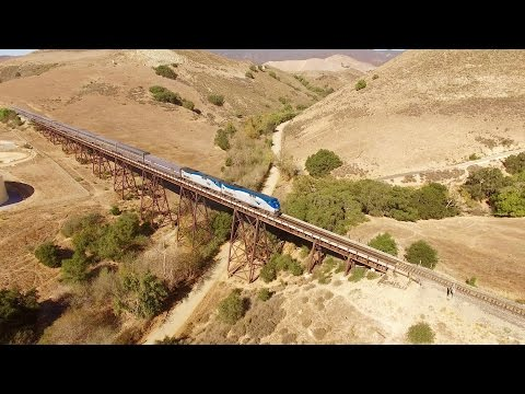 Thumbnail: Drone Chasing Amtrak Coast Starlight Train Horseshoe Curve and Stenner Creek Trestle SLO, CA
