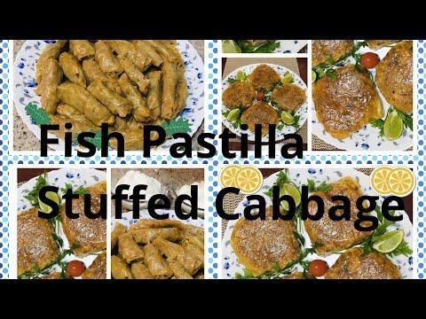محشي-الملفوف-+-بسطيلات-صغار-بالسمك -stuffed-cabbage-&-fish-pastilla