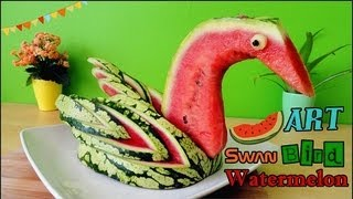 Repeat youtube video Art In Watermelon Swan | Food Carving Bird Garnish | Fruit Decoration