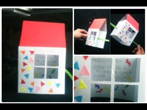 Tarjeta 3d en forma de casa invitacion facil for Hacer tu casa en 3d