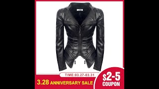 Женская весенняя куртка из искусственной кожи черная модная мотоциклетная goth 2020 новая верхняя