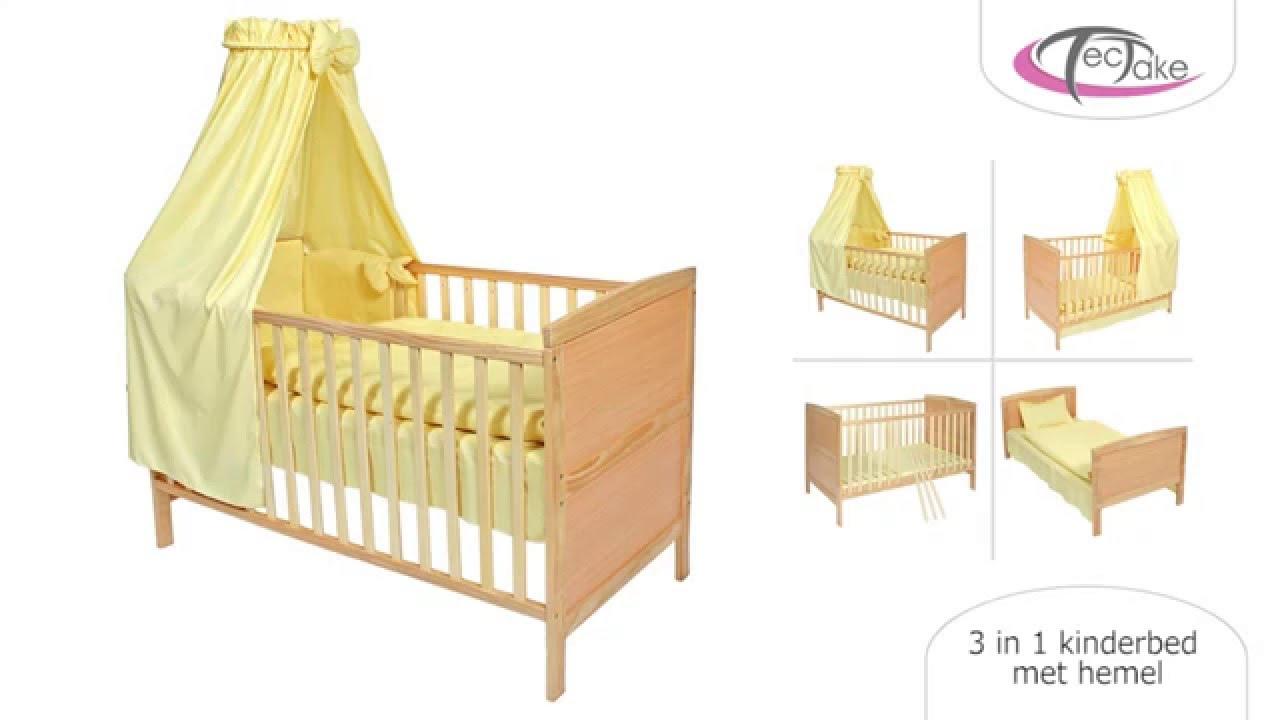 tectake 3 in 1 kinderbed met hemel gele youtube. Black Bedroom Furniture Sets. Home Design Ideas