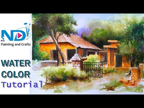 Watercolor Painting For Beginners  Village Forest Old House Scenery Tutorial by Nihar Debnath