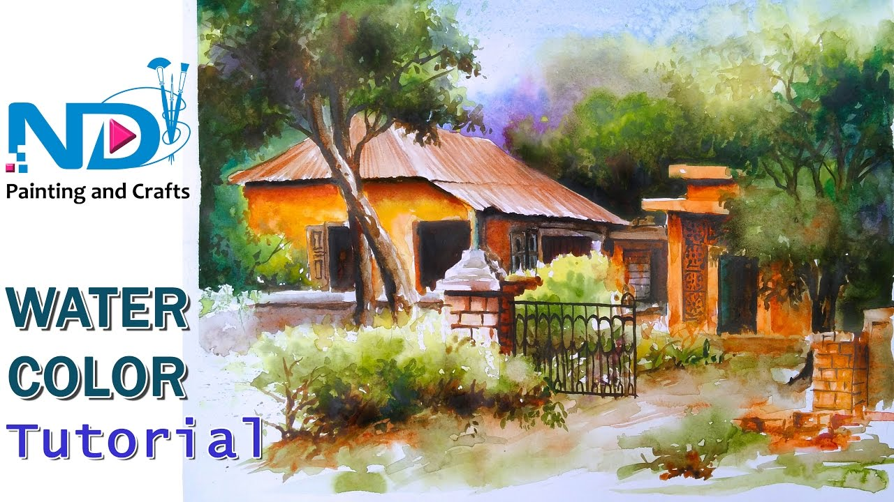 Watercolor painting for beginners village forest old house for Classic house tutorial