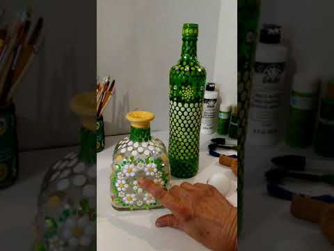 Mandala Dot Painting on Glass Bottles & Cork Screws Spring Summer Outdoor Decor Recycle