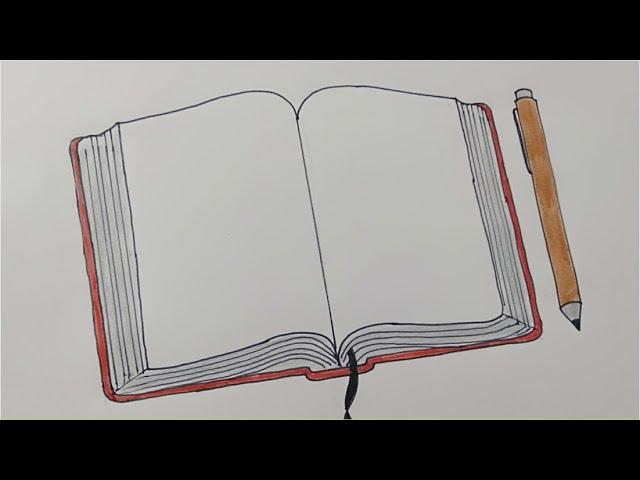 تعلم رسم كتاب مفتوح وقلم خطوة خطوة رسومات سهلة وجميله للمدرسة رسم سهل رسم كتاب Draw Book Youtube