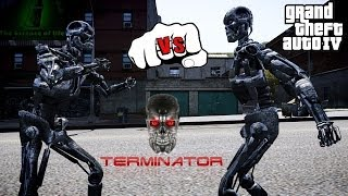 T-600 VS T-800 | TERMINATOR FIGHT | GTA IV
