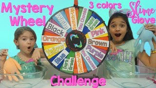 MYSTERY WHEEL 3 COLORS OF GLUE GLOVES SLIME  CHALLENGE!!