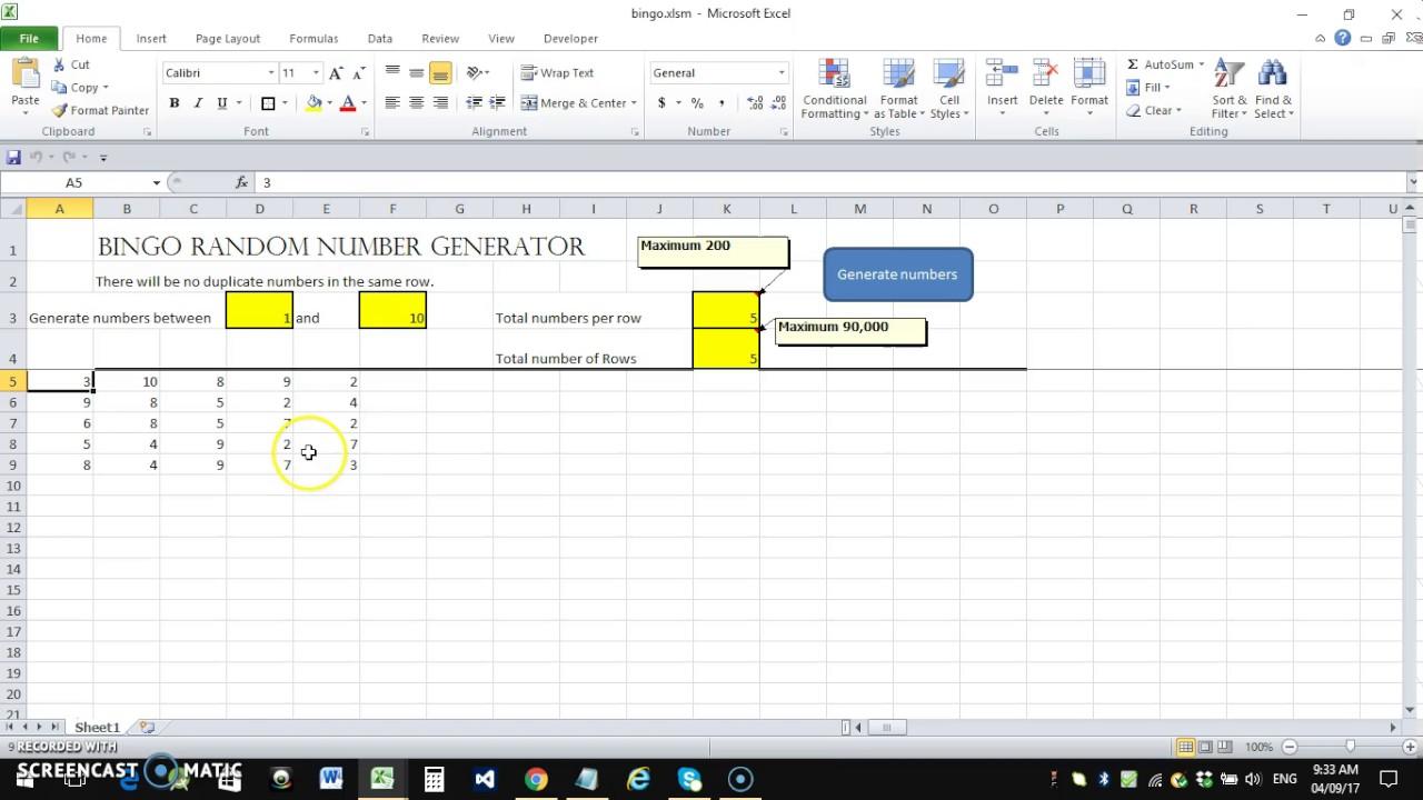 Bingo Number Generator Or Bingo Card Generator Excel
