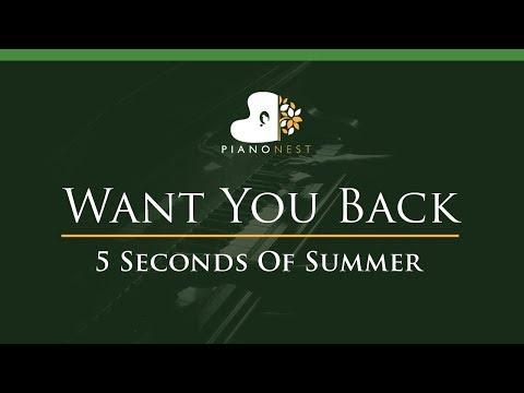 5 Seconds Of Summer - Want You Back - LOWER Key (Piano Karaoke / Sing Along) - 5SOS