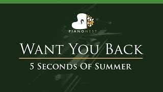 5 Seconds Of Summer - Want You Back - LOWER Key (Piano Karaoke / Sing Along) - 5SOS
