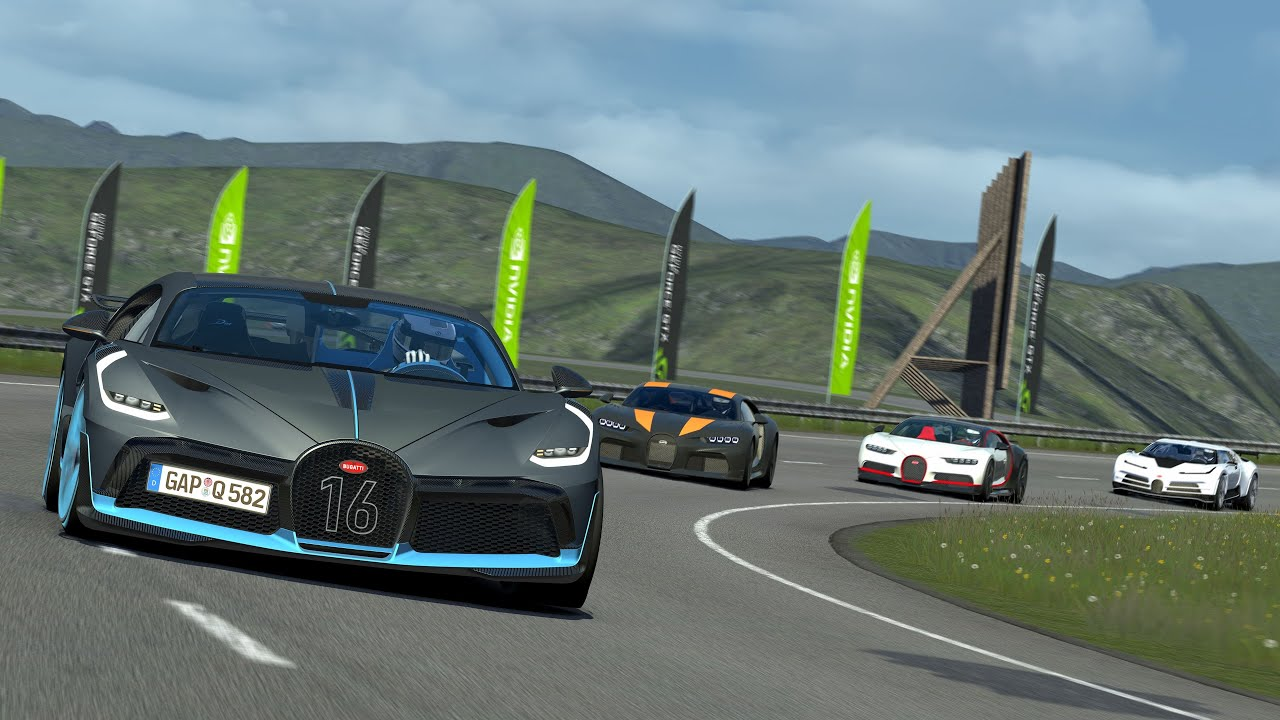 Bugatti Centodieci Vs Divo Vs Chiron Super Sport 300 Vs Chiron At Highlands Assetto Corsa Ac Youtube