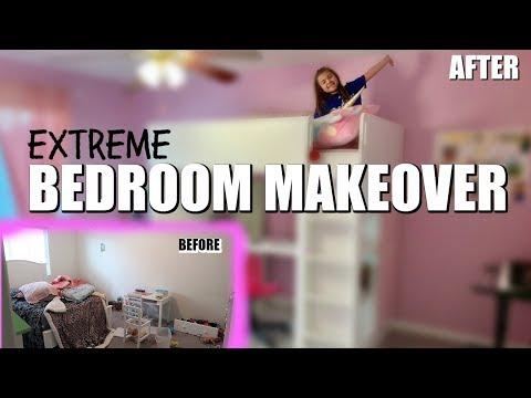 EXTREME BEDROOM MAKEOVER in 24 HOURS | KIDS GIRL ROOM MAKEOVER | ROOM TOUR |  PHILLIPS FamBam Vlogs