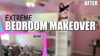 EXTREME BEDROOM MAKEOVER in 24 HOURS | KIDS GIRL ROOM MAKEOVER | ROOM TOUR |  PHILLIPS FamBam