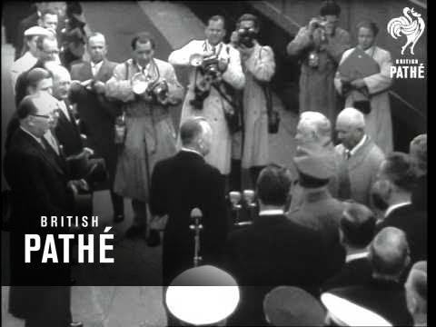 Bulganin And Khruschev Arrive In Helsinki (1957)