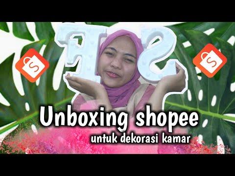 unboxing shopee perlengkapan dekorasi kamar - youtube