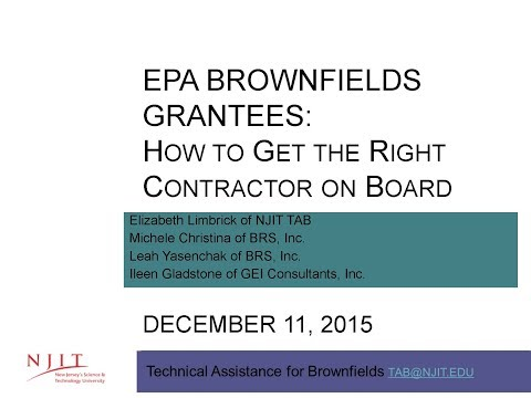 "EPA Grantee Consultant Procurement ""How to Get the Right Contractor On Board"""