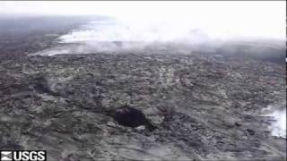 Kilauea Volcano - surface lava flow from Puu Oo crater.flv