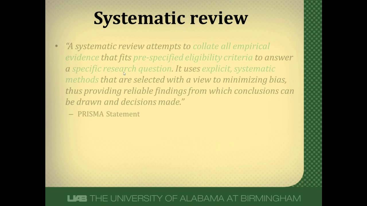 systematic review critique View notes - nr505 critique of systematic research review paper from nr 505 at chamberlain college of nursing running head: critique of systematic research review critique of systematic research.