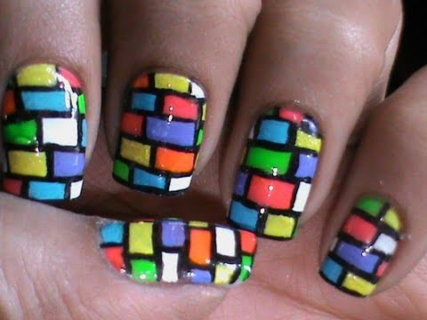 bricks nail art tutorial cute long/short nail polish