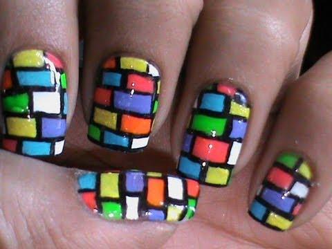 bricks nail art tutorial cute long short