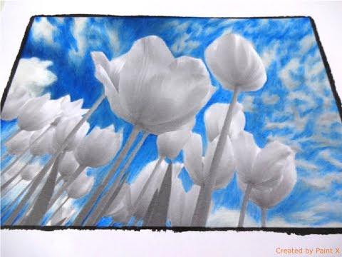 BEAUTIFUL NATURE grayscale | Tulips Part 1 | color TUTORIAL | Prismacolor