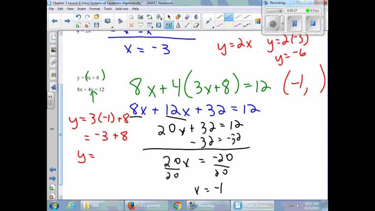 Chapter 3 Lesson 8 Solve Systems of Equations Algebraically YouTube – Solving Systems of Equations Algebraically Worksheet