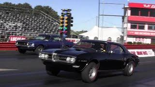 428 Cobra Jet Mustang vs Ram Air 400 Firebird 1/4 mile Drag Race - Road Test TV ®