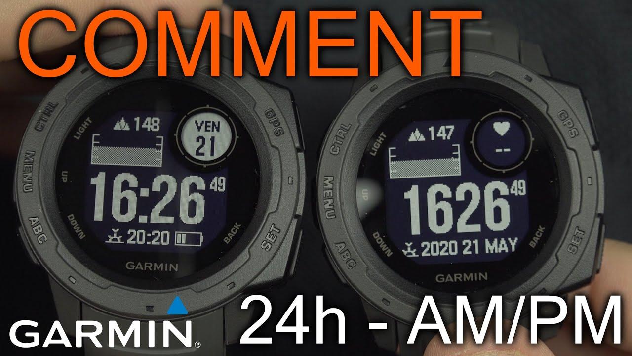 Comment Changer le mode d'heure sur la Montre Garmin Instinct (AM/PM / 24H)