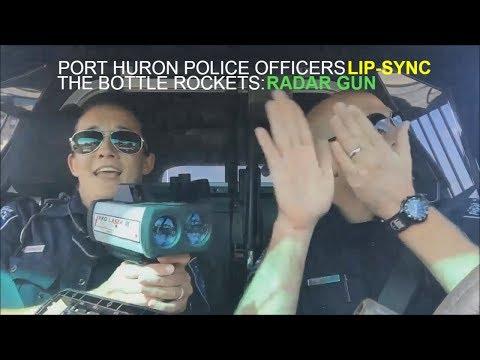 Port Huron Police Officer lip-sync Karaoke Challenge The Bottle Rockets - Radar Gun