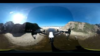 Aerial spherical flight, beach near Half Moon Bay (Ricoh Theta M15)