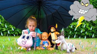 Toys hit the thunderstorm Video for kids by Nastya