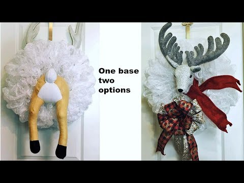 How to make a Reindeer wreath for Christmas one poof base two options