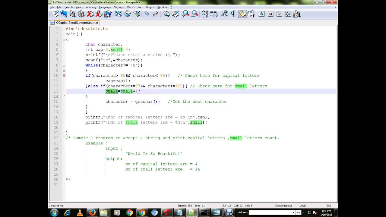C PROGRAM TO COUNT CAPITAL SMALL LETTERS - YouTube