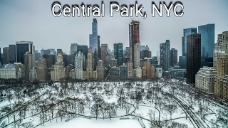 Snow Storm 2017 in Central Park New York City 2k Drone