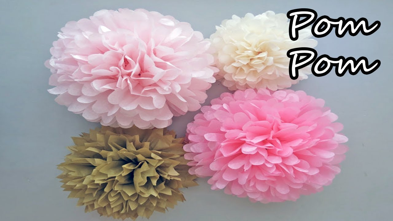 How To Make Pom Pom Flowers With Crepe Paper Youtube