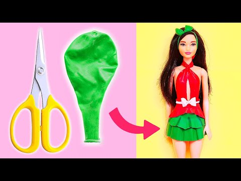 👗 DIY Barbie Dresses With Balloons Easy No Sew Clothes For Barbies    BARBIE DOLL HACKS 👗