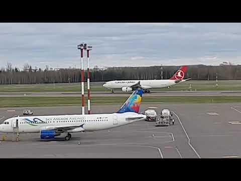 Turkish Cargo A330 plane given water cannon salute at Vilnius airport