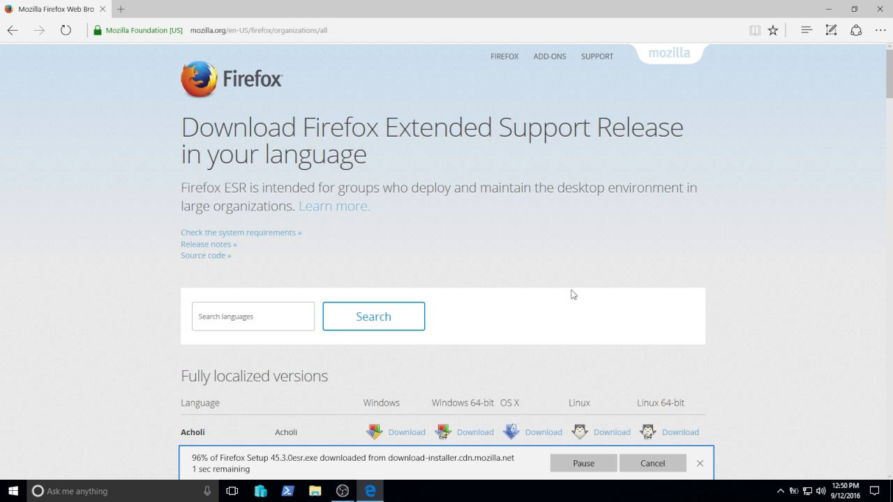 firefox extended support release (esr) version 45