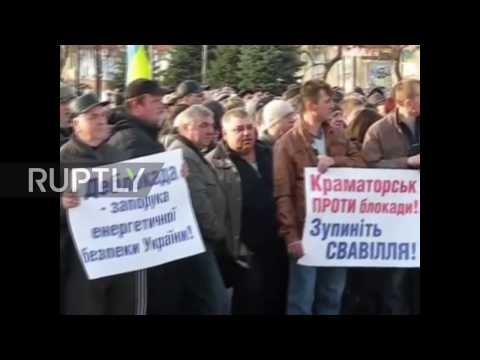 Ukraine: Hundreds protest ongoing trade blockade of eastern Ukraine