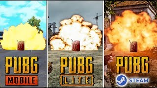 PUBG MOBILE vs PUBG LITE vs PUBG steam.ЧАСТЬ 3 СРАВНЕНИЕ ВЗРЫВНЫХ КАНИСТР