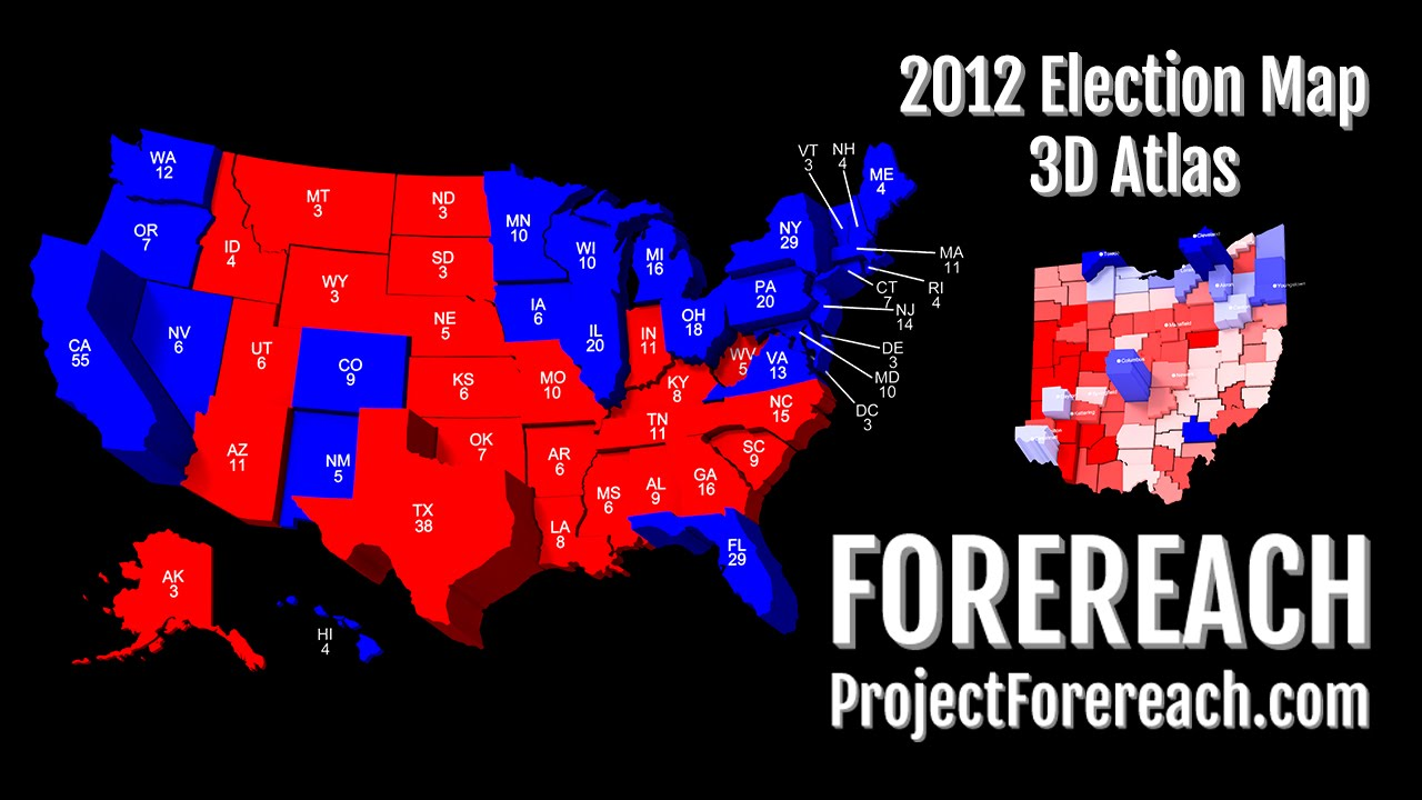 Project Forereach 2012 U S Presidential Election 3d Atlas