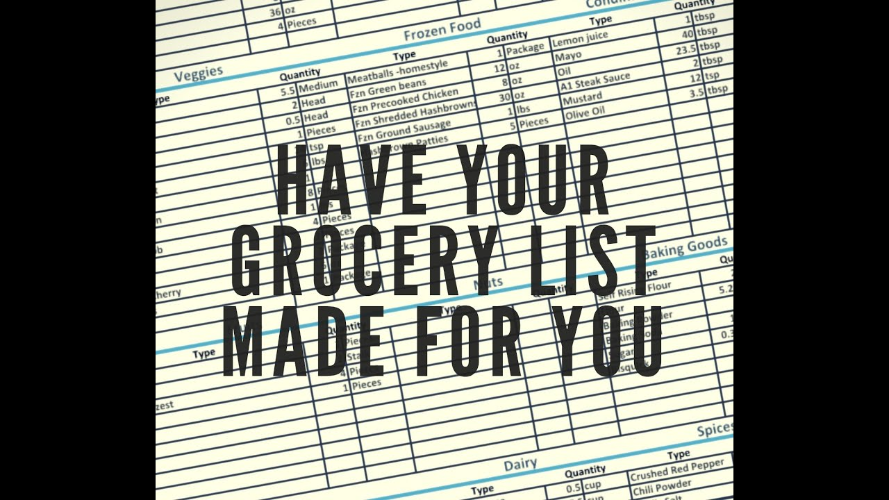 grocery list generator youtube