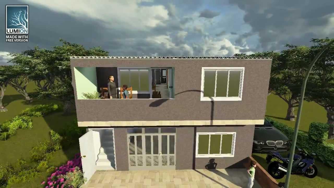 Arquitectura 3d segundo piso jose hernandez youtube for Fachadas de casas segundo piso